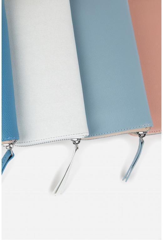 Гаманець ELENA  з блакитної тисненої на блискавці /срібло/