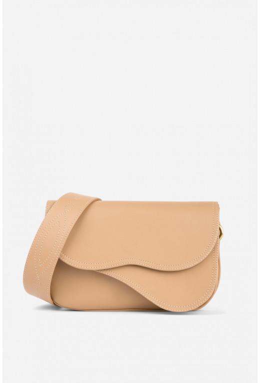 Кросбаді Saddle bag 2 з бежевої гладкої шкіри /бронза/