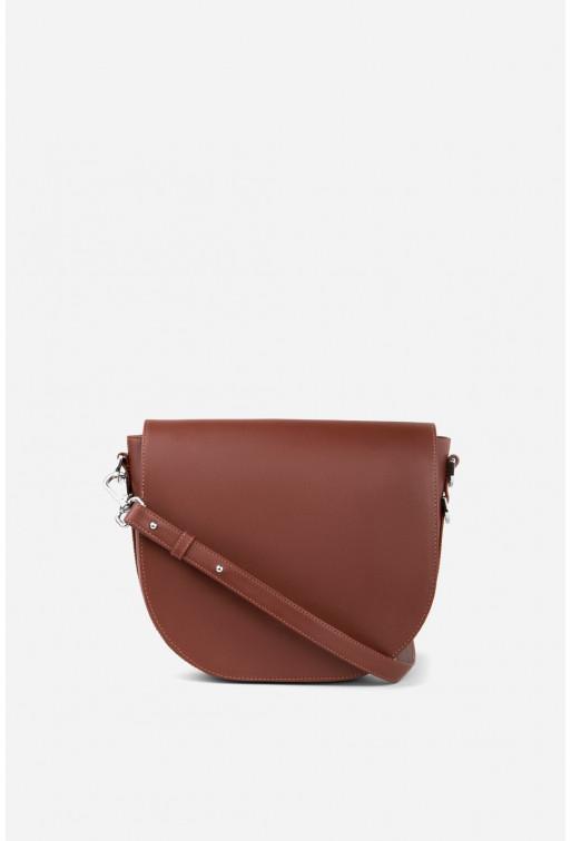 Кросбаді Saddle bag 1 з червоно-коричневої гладкої шкіри /срібло/
