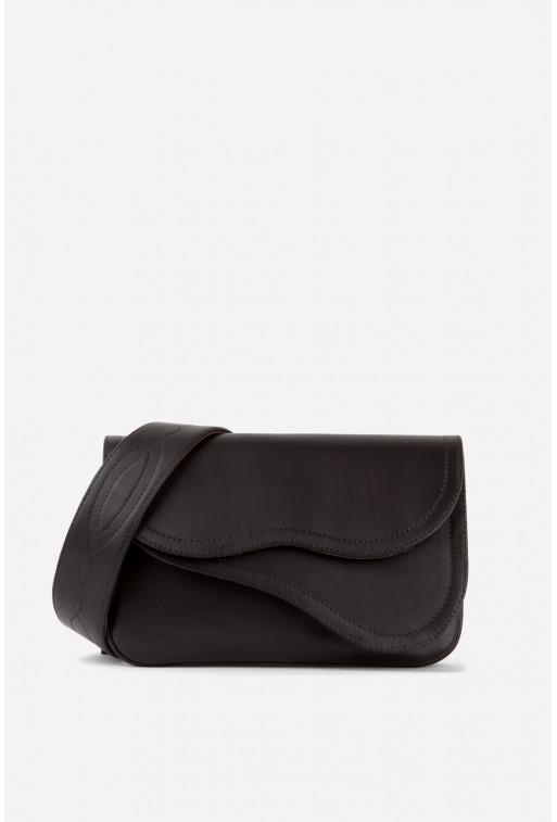 Кросбоді SADDLE BAG 2 з шоколадної гладкої шкіри /срібло/