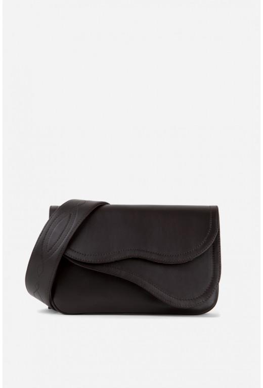 Кросбаді Saddle bag 2 з шоколадної гладкої шкіри /срібло/