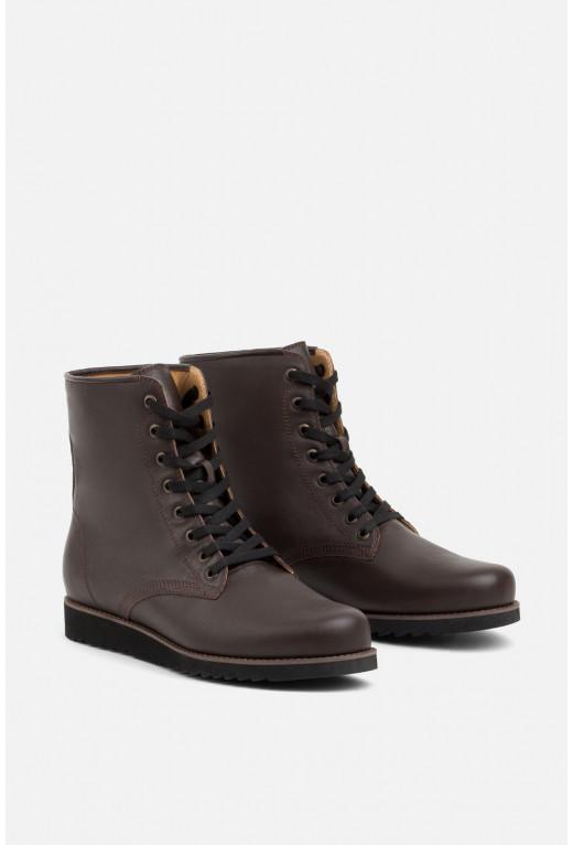 Черевики чоловічі з темно-коричневої шкіри на шнурівці