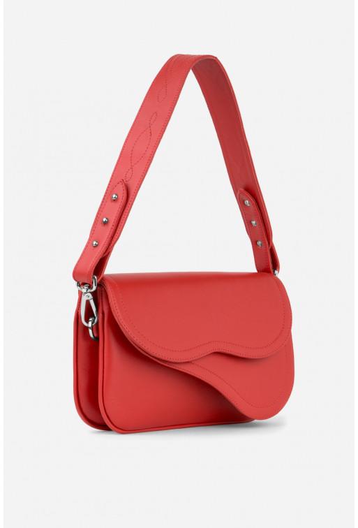 Кросбаді SADDLE BAG 2 з червоної гладкої шкіри /срібло/