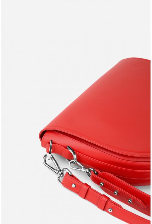 Кросбаді Saddle bag 1 з червоної гладкої шкіри /срібло/