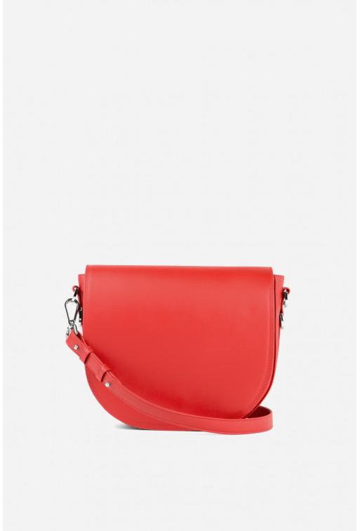 Кросбаді Saddle bag 1 з червоно гладкої шкіри /срібло/