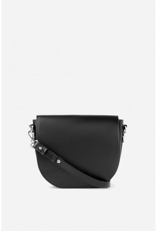 Кросбаді Saddle bag 1 з чорної матової гладкої шкіри /срібло/