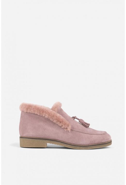 Черевики рожеві замшеві  з китицями /цигейка/