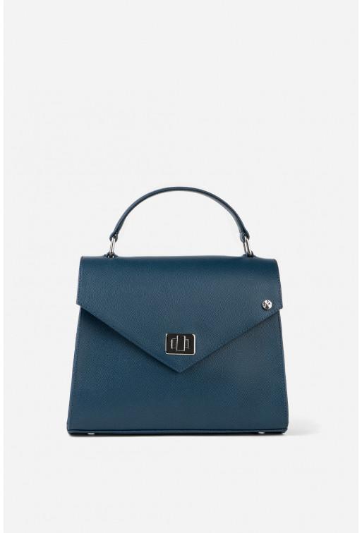 Портфель MITTE GRANDE MINI з темно-синьої фактурної шкіри /срібло/