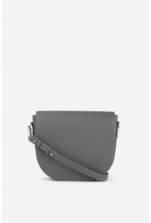 Кросбаді Saddle bag 1 з сірої гладкої шкіри /срібло/