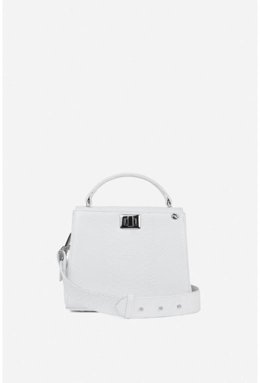 Портфель ERNA MINI з білої тисненої шкіри /срібло/