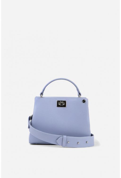 Портфель ERNA MINI з блакитно-бузкової фактурної шкіри /срібло/