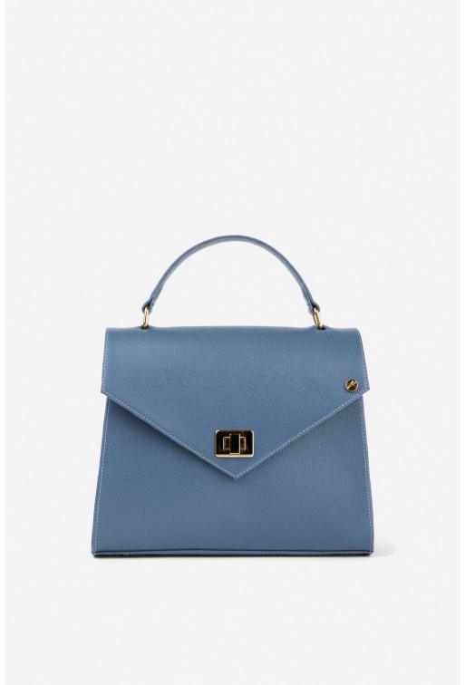 Портфель MITTE GRANDE MINI з темно-блакитної фактурної шкіри /золото/