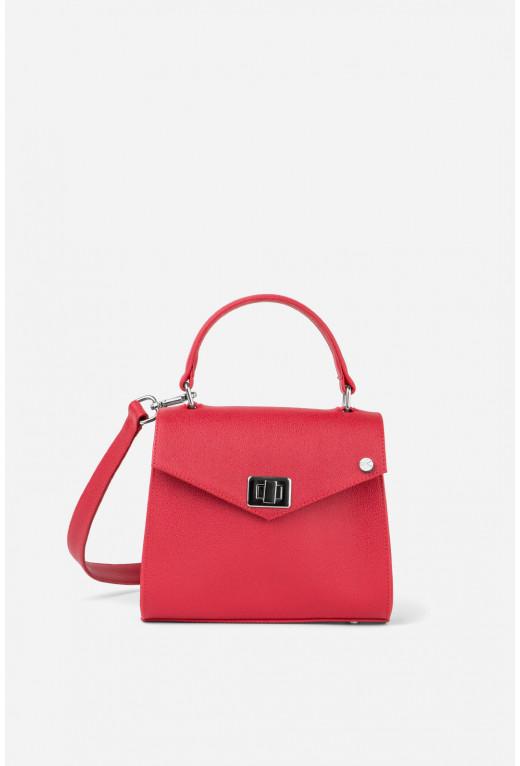Портфель MITTE MINI  з червоно-коралової фактурної шкіри /срібло/