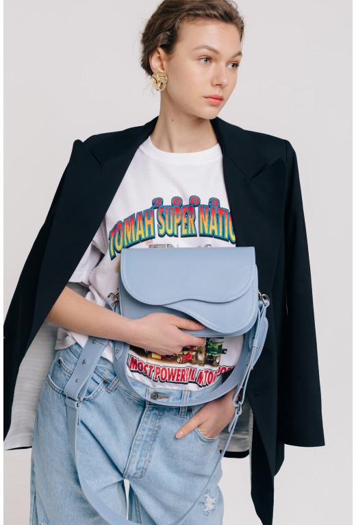 Кросбаді Saddle bag 2 з блакитної гладкої шкіри /срібло/