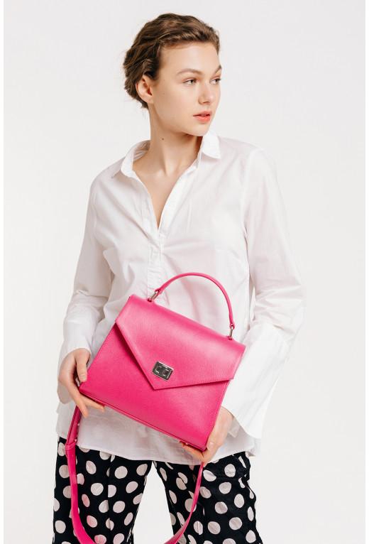 Портфель MITTE GRANDE MINI з рожевої фактурної шкіри /срібло/