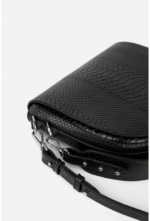 Кросбаді Saddle bag 1 з чорної тисненої шкіри /срібло/