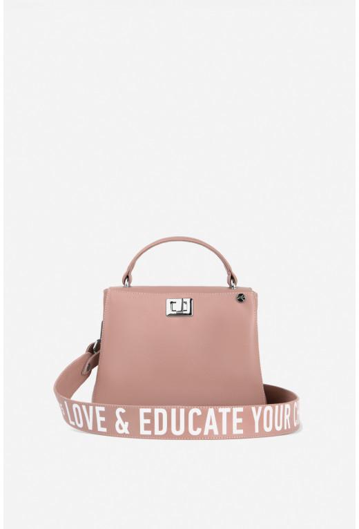 Портфель ERNA MINI  з колекції Kachorovska #BH15 (гладка рожева шкіра/срібло)