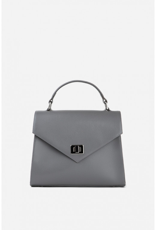 Портфель MITTE GRANDE MINI з сірої фактурної шкіри /срібло/