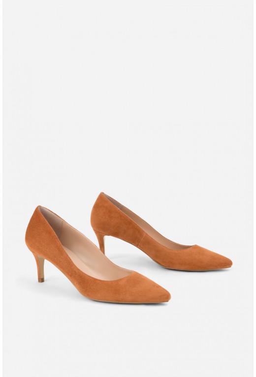 Лодочки кольору охри  замшеві kitten heels /5 см/