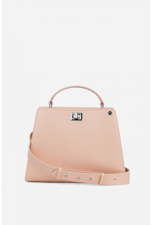 Портфель ERNA з бежево-рожевої фактурної шкіри /срібло/
