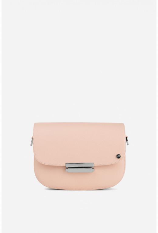 Кросбаді VERONA з бежево-рожевої фактурної шкіри /срібло/