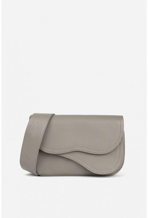 Кросбаді Saddle bag 2 з сіро-бежевої гладкої шкіри /срібло/