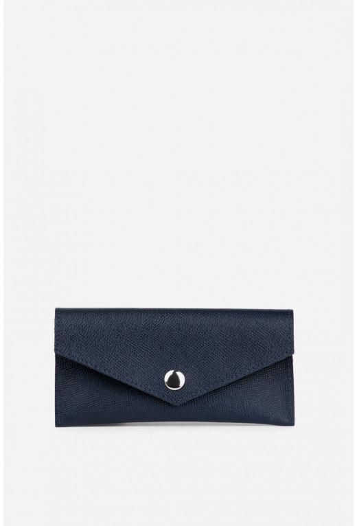 Гаманець конверт  з синьої фактурної шкіри