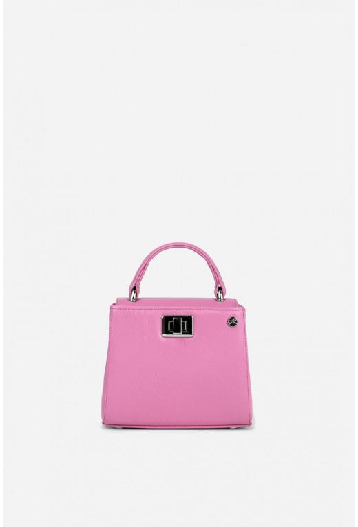 Портфель ERNA MICRO з рожевої фактурної шкіри /срібло/