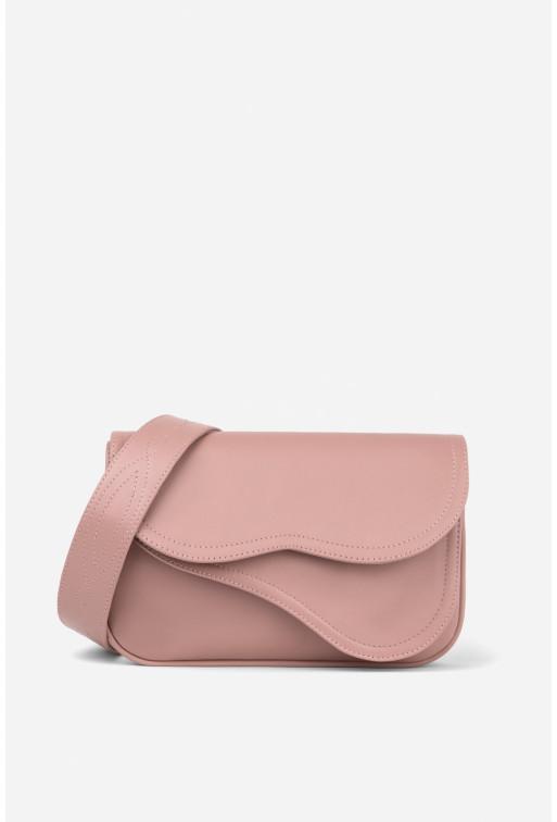 Кросбаді Saddle bag 2 з рожевої гладкої шкіри /срібло/