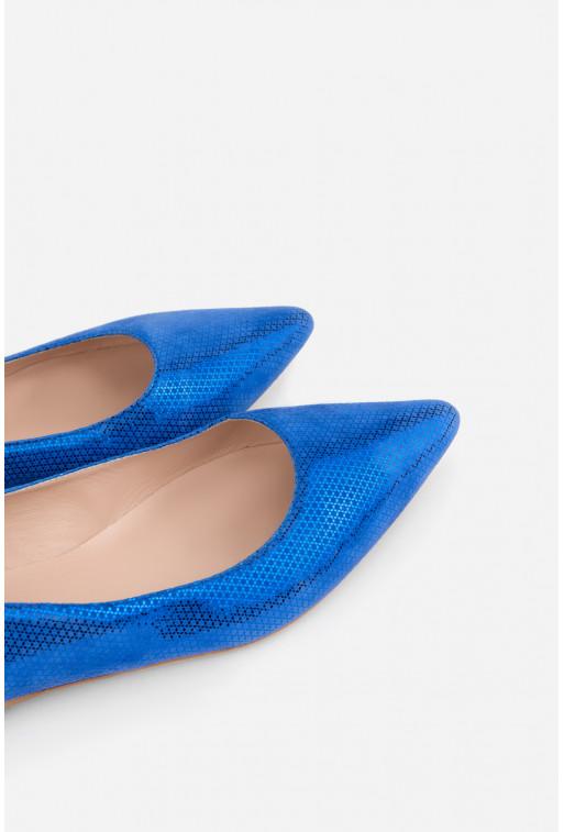 Балетки яскраво-сині шкіряні  гостроносі
