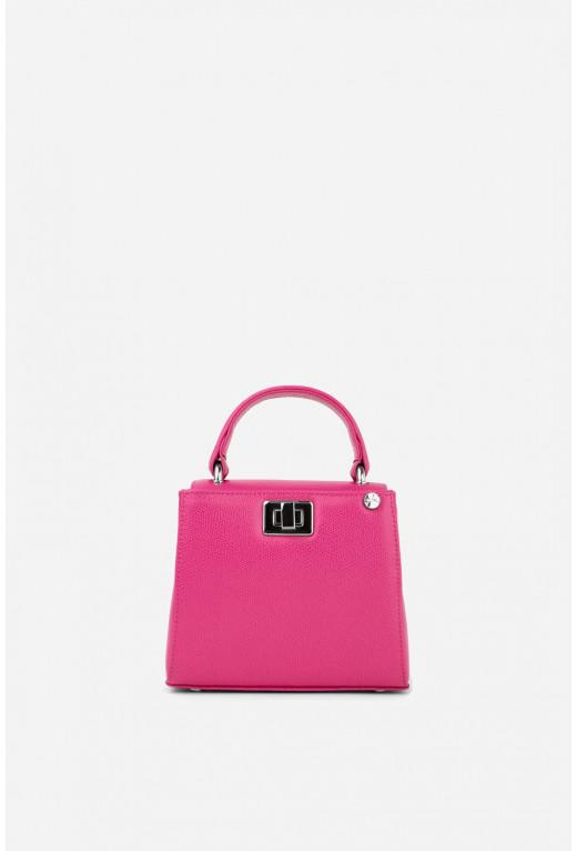 Портфель ERNA MICRO з яскраво-рожевої фактурної шкіри /срібло/