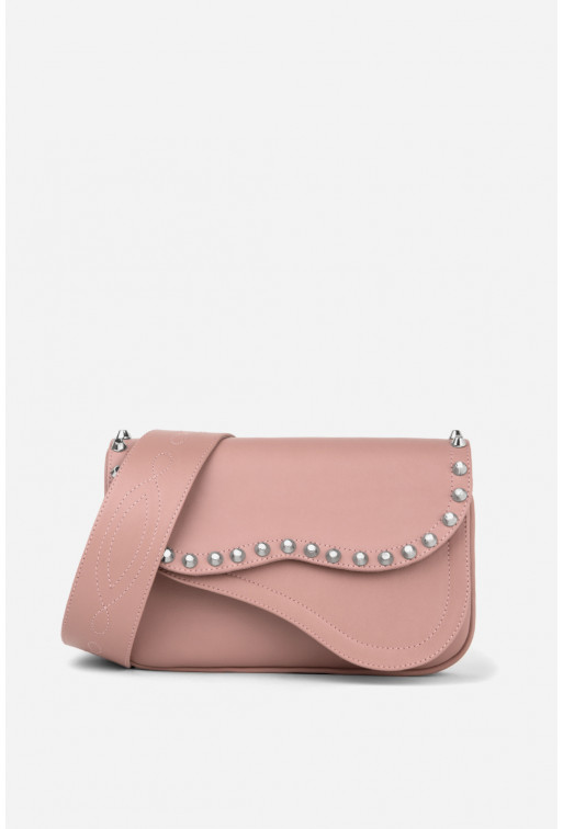 Кросбаді Saddle bag Studs з рожевої гладкої шкіри /срібло/