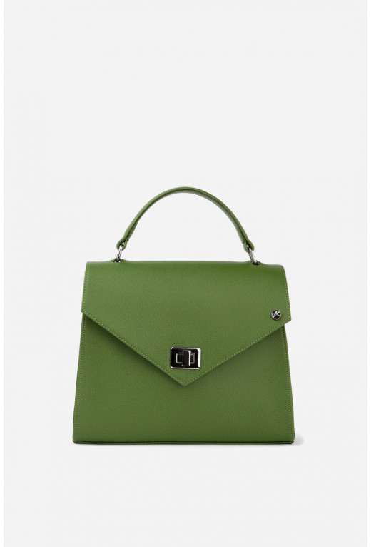 Портфель MITTE GRANDE MINI з зеленої фактурної шкіри /срібло/