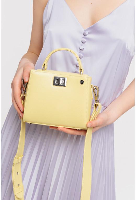Портфель ERNA MICRO з жовтої фактурної шкіри /срібло/