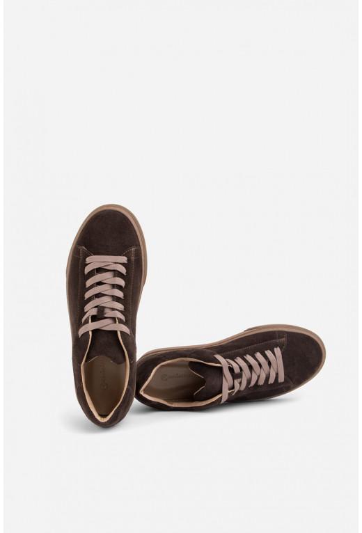 Кеди темно-коричневі замшеві на шнурках