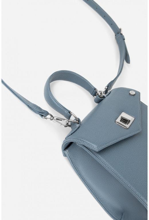 Портфель MITTE MINI  з блакитної фактурної шкіри /срібло/