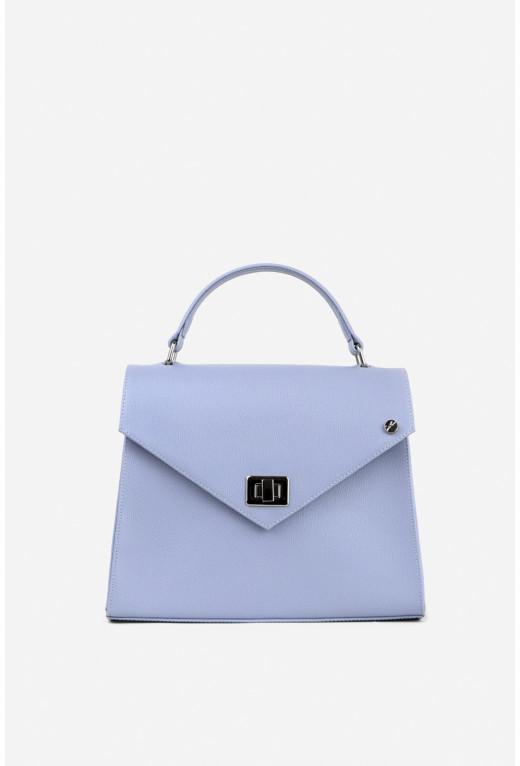 Портфель MITTE GRANDE MINI з блакитно-бузкової фактурної шкіри /срібло/