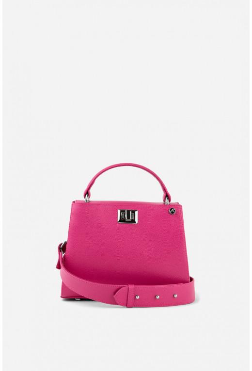 Портфель ERNA MINI з яскраво-рожевої фактурної шкіри /срібло/