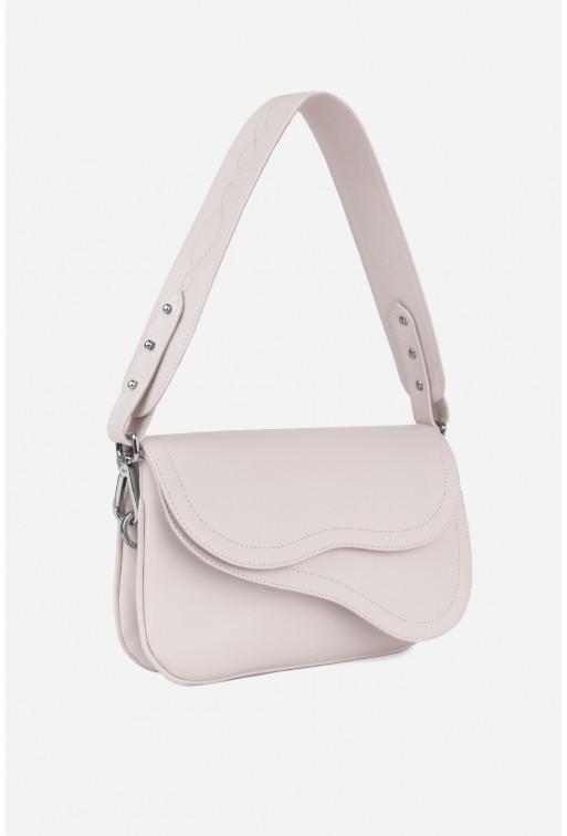 Кросбаді Saddle bag 2 з блідо-рожевої гладкої шкіри /срібло/