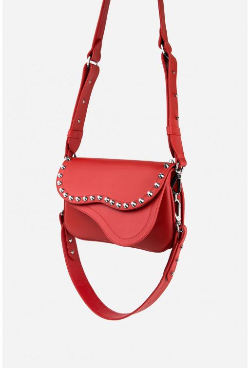 Кросбаді Saddle bag Studs з червоної гладкої шкіри /срібло/