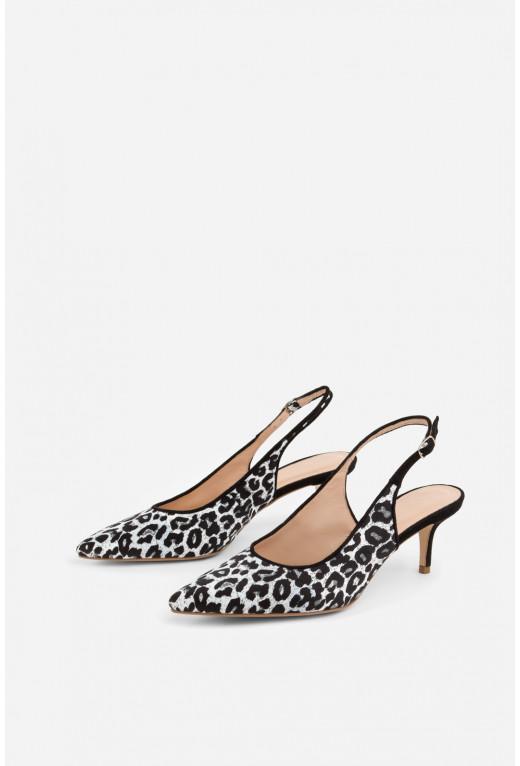 Туфлі  з леопардового сатину /5 см/