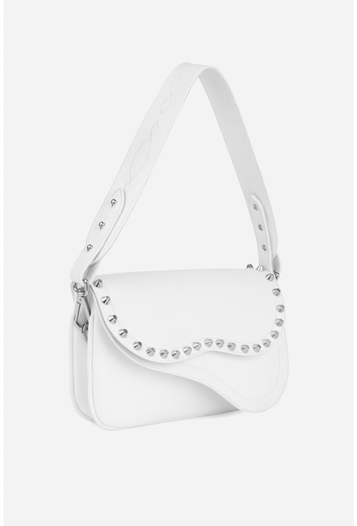 Кросбаді Saddle bag Studs A  з білої гладкої шкіри /срібло/