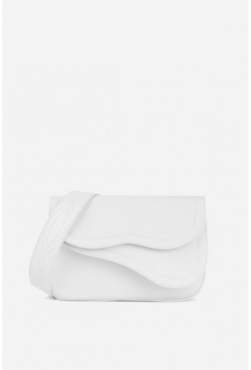 Кросбаді Saddle bag 2A  з білої гладкої шкіри /срібло/