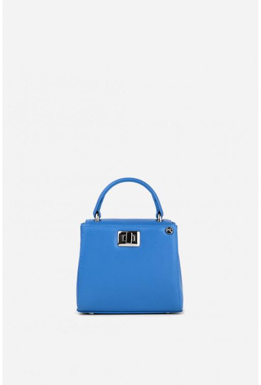 Портфель ERNA MICRO з блакитної фактурної шкіри /срібло/