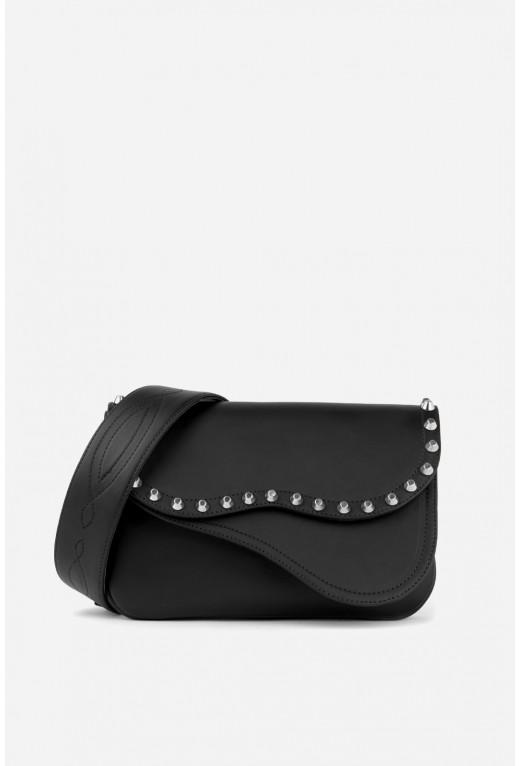 Кросбаді Saddle bag Studs з чорної гладкої шкіри /срібло/