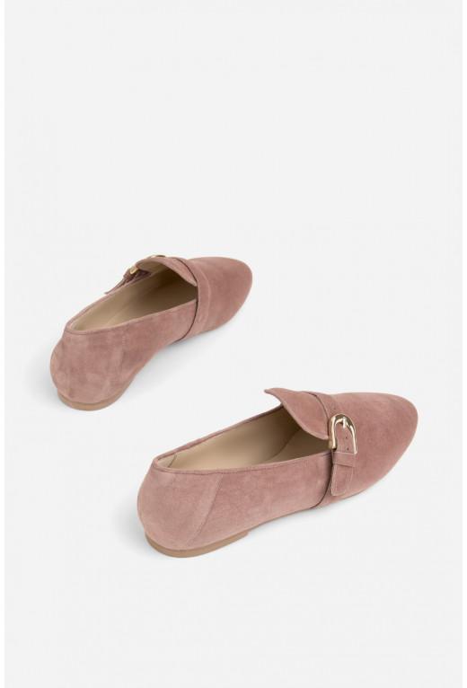 Лофери з пряжкою  сіро-рожеві замшеві
