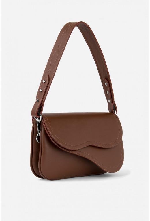 Кросбаді Saddle bag 2A  з шоколадної гладкої шкіри /срібло/