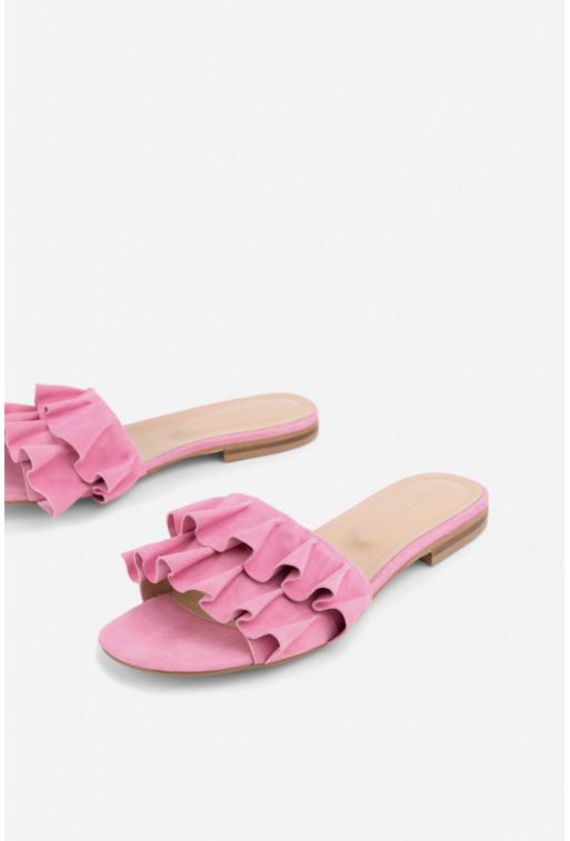 Шльопанці рожеві з воланами