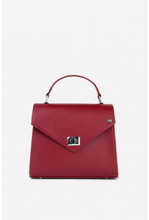 Портфель MITTE GRANDE MINI  з темно-червоної фактурної шкіри /срібло/