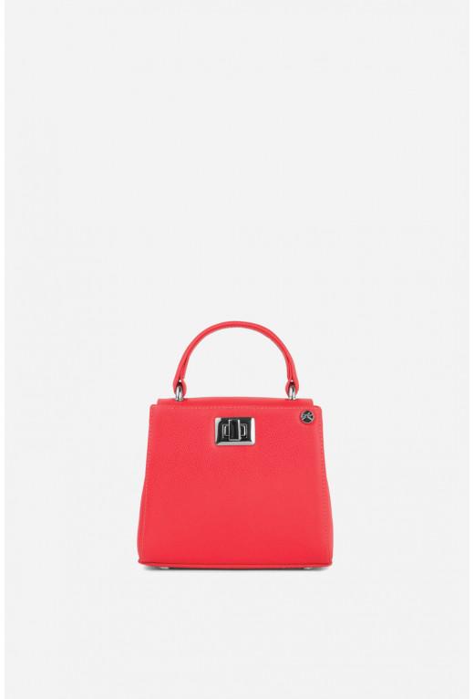Портфель ERNA MICRO з яскраво-червоної фактурної шкіри /срібло/